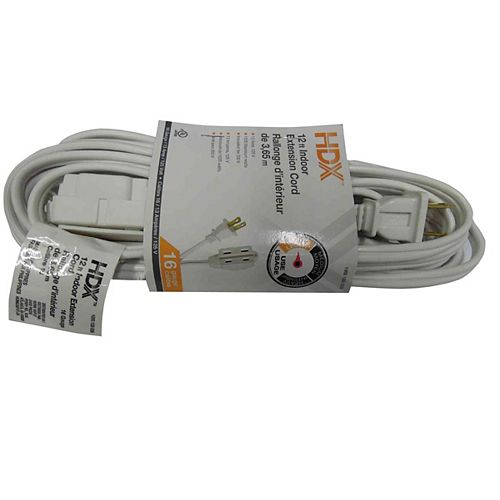 12 ft. Indoor Extension Cord in White