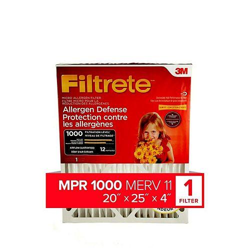 20-inch x 25-inch x 4-inch Allergen Reduction MPR 1000 Deep Pleated Filtrete Furnace Filter