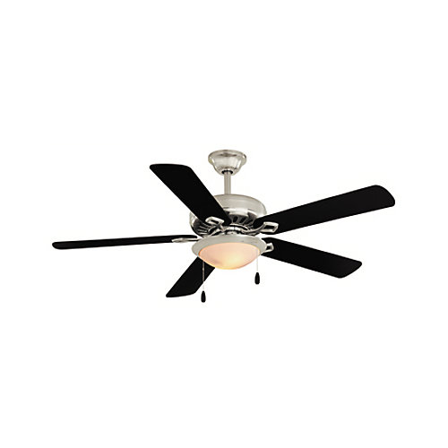 Southwind 52-inch 5-Blade 1-Light Nickel Ceiling Fan with Reversible Blades and Remote Control