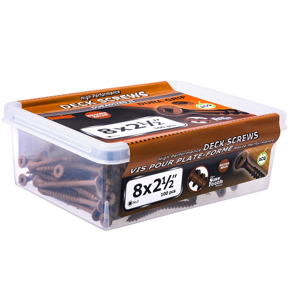 Paulin #8 x 2-1/2-inch Square Drive Flat Head Deck Screw UNC in Brown - 100pcs