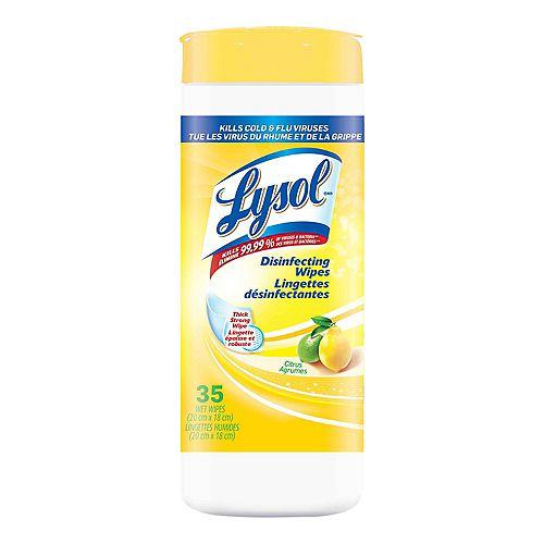 Lingettes désinfectantes, Citron, 35lingettes, désinfection, nettoyage, assainissement