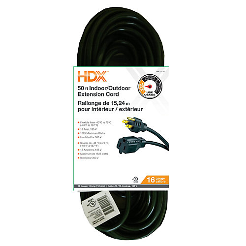 50 ft. 16-Gauge Indoor/Outdoor Extension Cord in Green