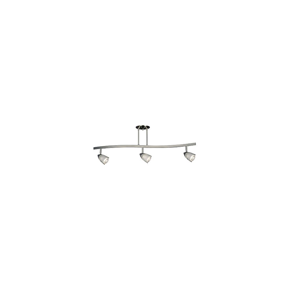 Hampton Bay 3 Light Halogen Curved Track Light In Pewter With Frosted Glass Shades The Home Depot Canada