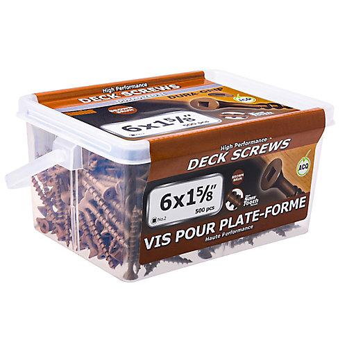 #6 x 1-5/8 pouce carré à tête plate à tête carrée UNC en brun - 500pcs