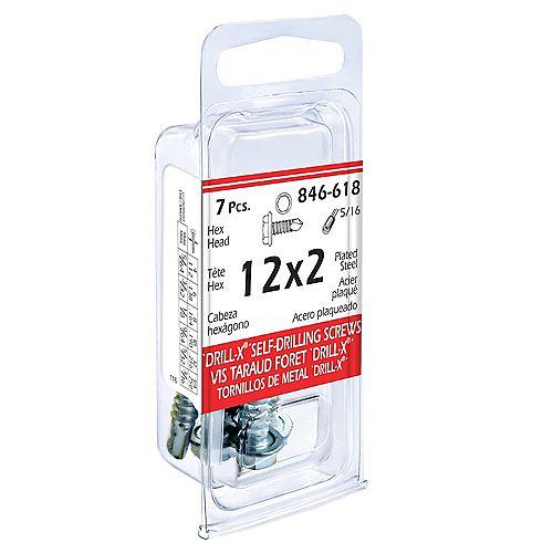 #12 x 2-inch DRILL-X Hex Washer Head Self-Drilling Tapping Screws - Zinc Plated (7 Pcs)