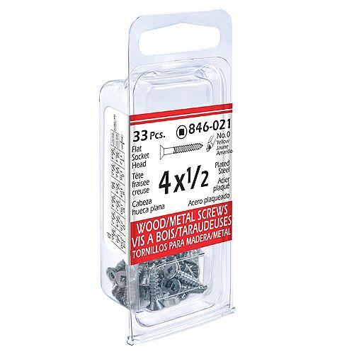 #4 x 1/2-inch Flat Head Square Drive Wood Screws - Zinc Plated - 33pcs
