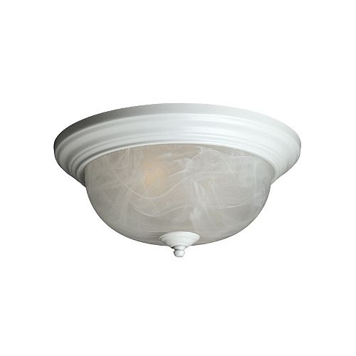 Hampton Bay 13-inch Flushmount Ceiling Light Fixture in White with Marbled Glass