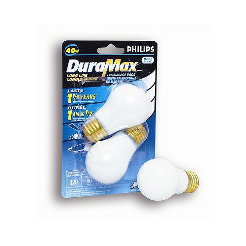 40 Watts Fan/Garage Door A15 White Medium Base Bulb (2-Pack)