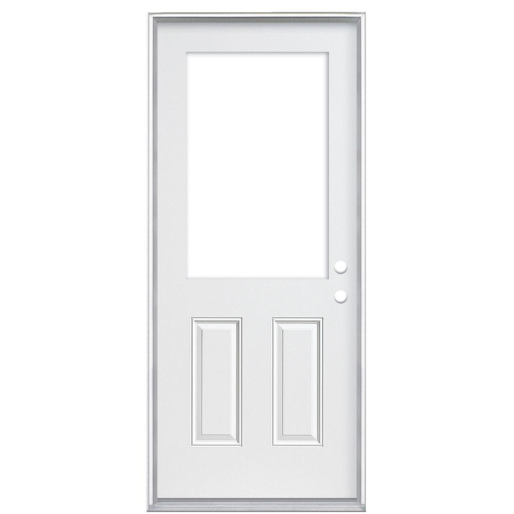 Masonite Porte gauche à 2 panneaux de 32 pouces x 80 pouces x 4 9/16 pouces avec découpe de 1/2 lumière