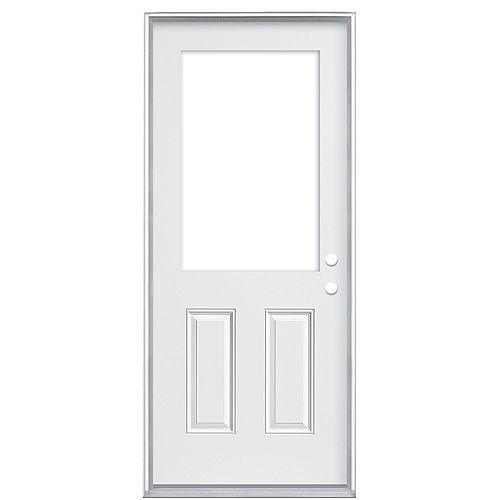 32-inch x 80-inch x 4 9/16-inch 2 Panel 1/2-Lite Cutout Left Hand Door