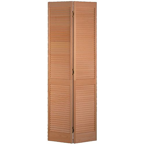 30-inch x 80-inch Clear Pine Full Louver Bifold Door