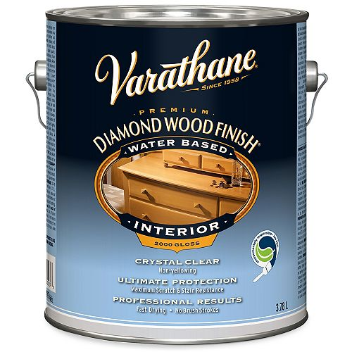 Varathane Premium Diamond Wood Finish For Interior, Water-Based In Gloss Clear, 3.78 L
