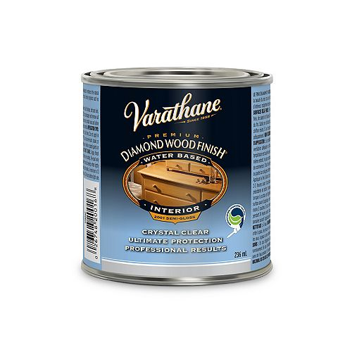 Varathane Premium Diamond Wood Finish For Interior, Water-Based In Semi-Gloss Clear, 236 mL