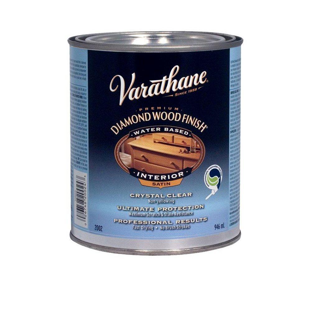 Varathane Diamond Finish Fini à bois de qualité supérieure pour l'intérieur, à base d'eau dans un fini satiné clair, 946 mL
