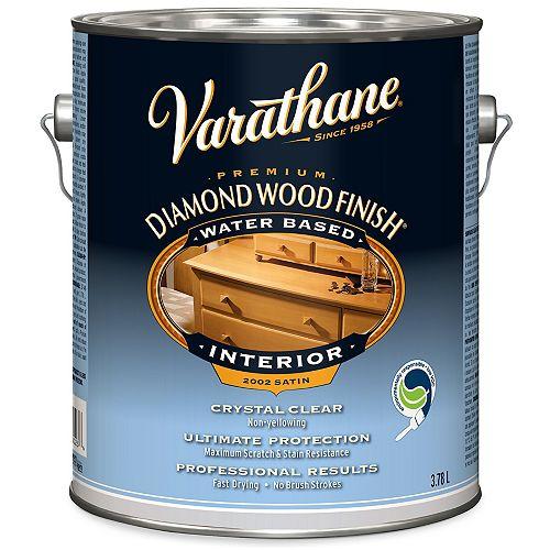 Fini à bois diamant de première qualité pour l'intérieur, transparent satiné à l'eau, 3,78 L