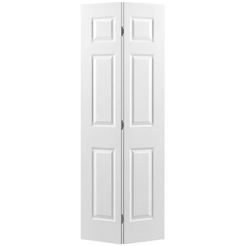 Masonite 30-inch x 80-inch Primed 6 Panel Hollow Core Textured Interior Bi-fold Door