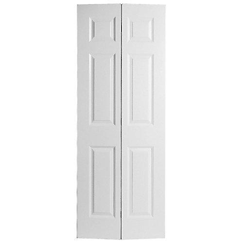 32-inch x 80-inch 6-Panel Textured Bifold Door