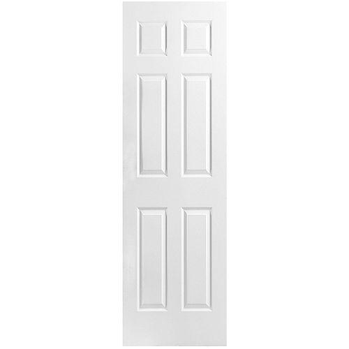 Dalle de porte intérieure moulée de 24 pouces x 80 pouces x 1 3/8 pouces à 6 panneaux texturés à âme creuse
