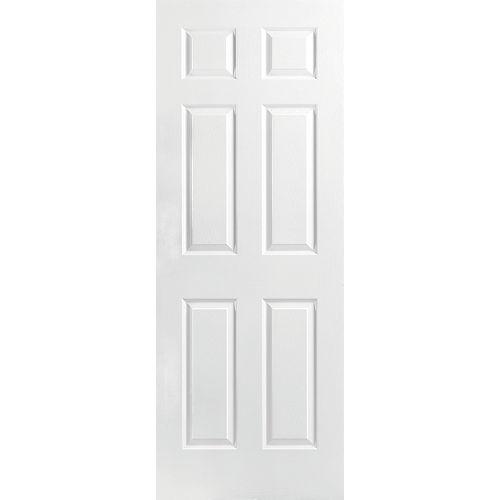 Dalle de porte intérieure moulée de 28 pouces x 80 pouces x 1 3/8 pouces à 6 panneaux texturés à âme creuse