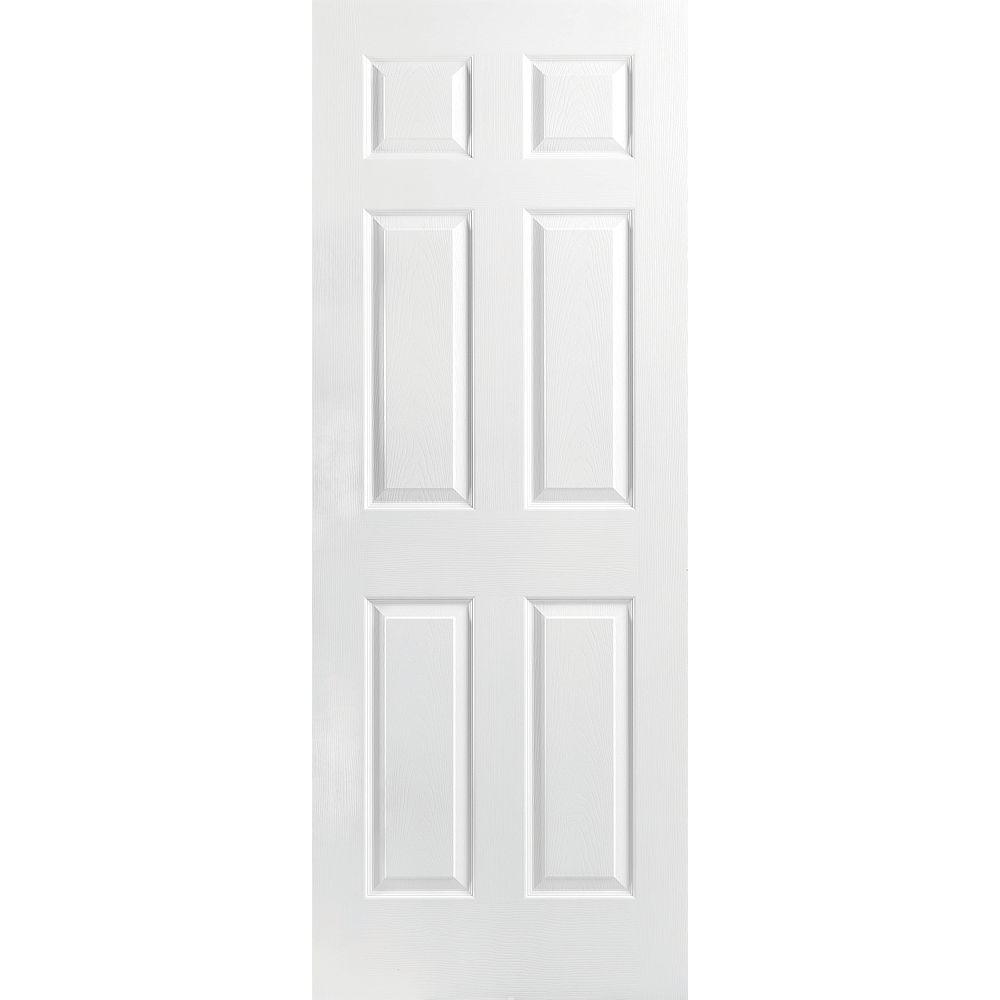 Masonite 30-inch x 80-inch x 1 3/8-inch Molded 6 Panel Textured Hollow Core Interior Door Slab