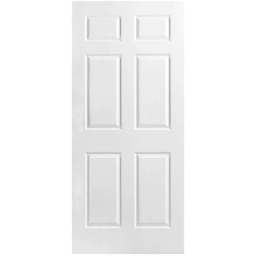 Masonite 36-inch x 80-inch x 1 3/8-inch Molded 6 Panel Textured Hollow Core Interior Door Slab