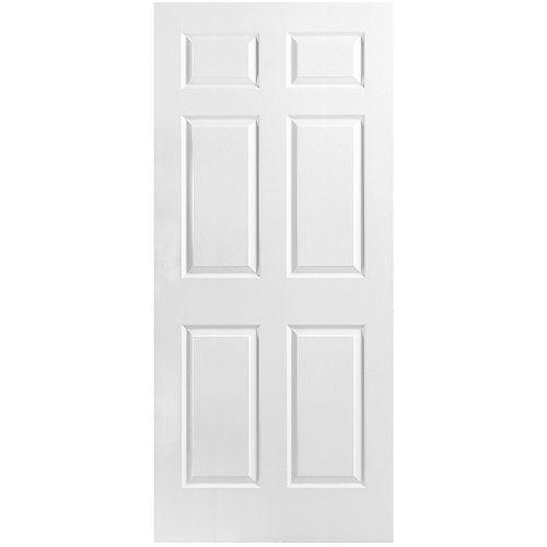 Dalle de porte intérieure moulée de 36 pouces x 80 pouces x 1 3/8 pouces à 6 panneaux texturés à âme creuse