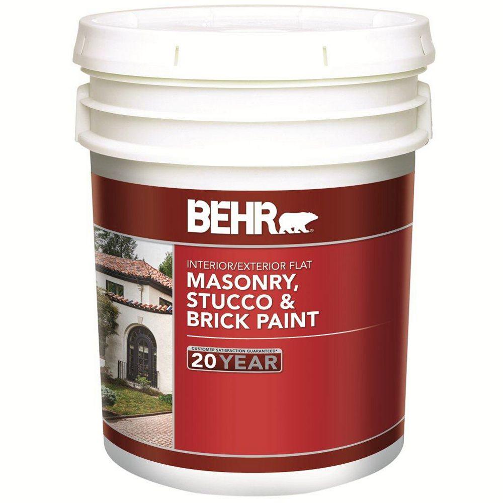 BEHR 18.9 L White Flat Latex Masonry, Stucco and Brick Interior/Exterior Paint