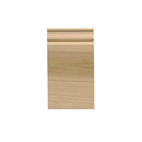 Socle colonial en bois dur blanc - 3 1/2 x 6 1/2 pouces