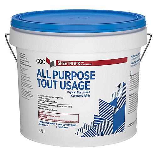 Composé tout usage pour cloisons sèches de la CCG, prêt à l'emploi, seau de 4,5 L