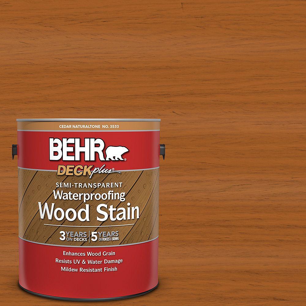 DECKPLUS Semi-Transparent Waterproofing Wood Stain - Cedar Naturaltone No. 3533, 3.79L