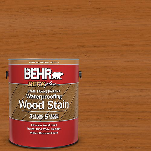 BEHR DECKplus Semi-Transparent Waterproofing Wood Stain - Cedar Naturaltone No. 3533, 3.79L