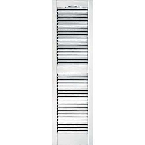 15-inch x 39-inch Louvered Shutter in White