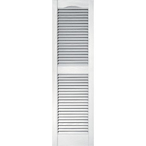 15-inch x 60-inch Louvered Shutter in White