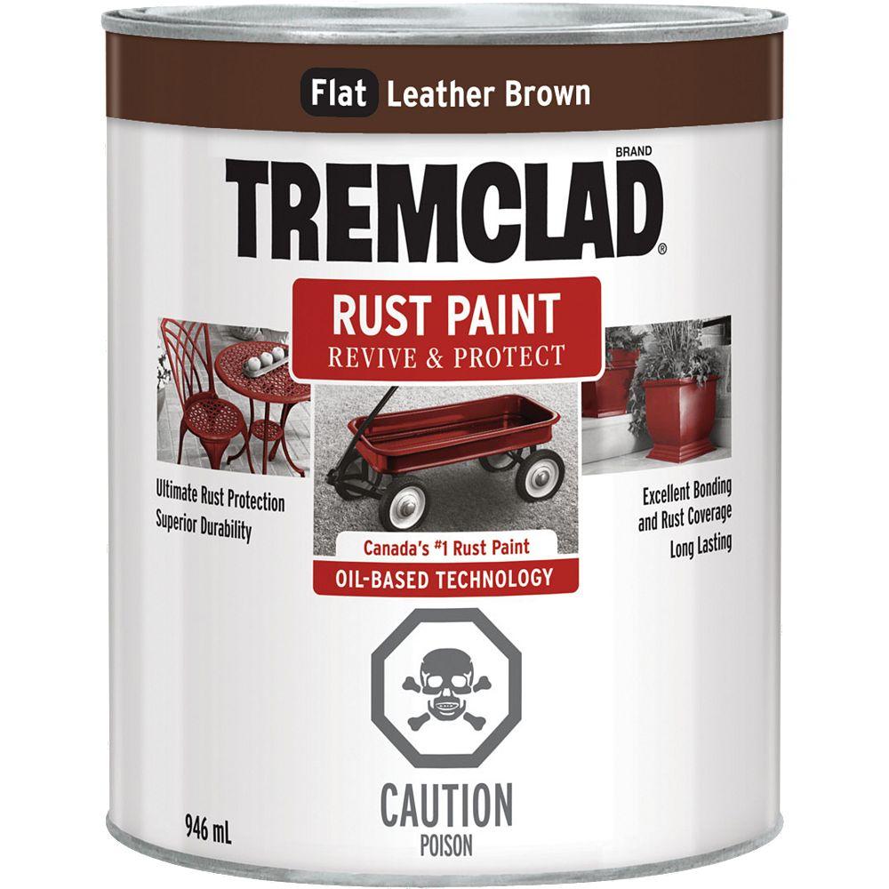 TREMCLAD Peinture Antirouille À Base D'Huile En Brun Cuir Plat - 946 mL