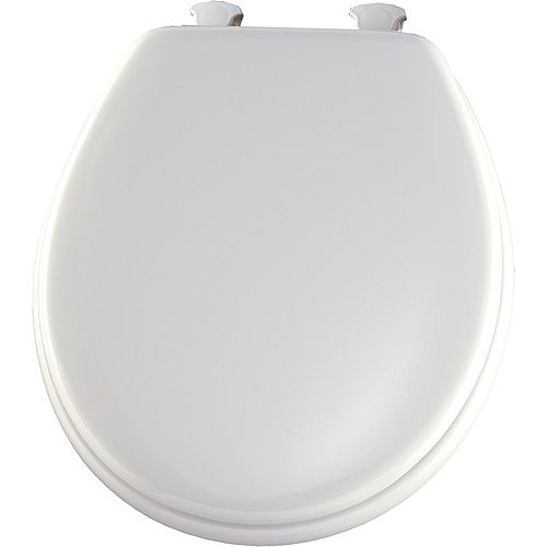 Round Wood Toilet Seat with Easy Clean & Change Hinge in White