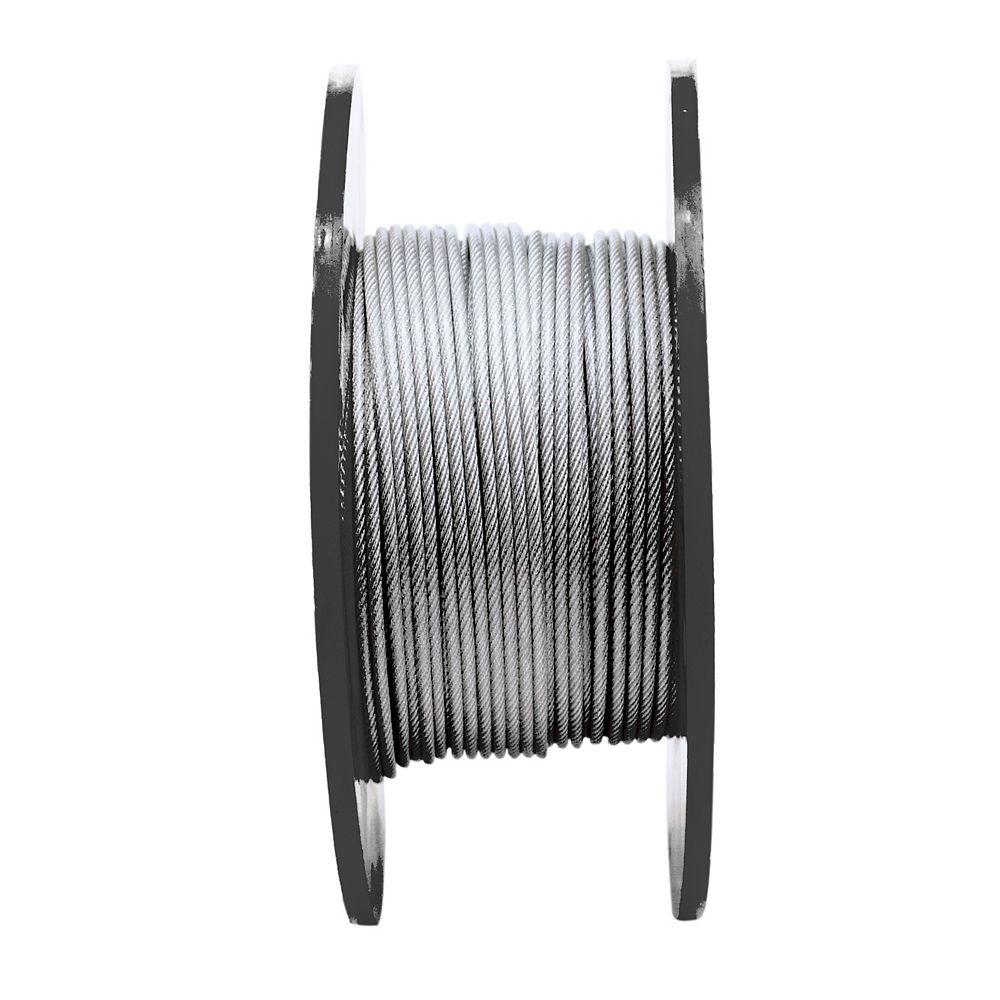 Everbilt 1/8po. x 3/16po. x 250pi. 7X7 Câble d'acier galvanisé-PVC, prix par pied