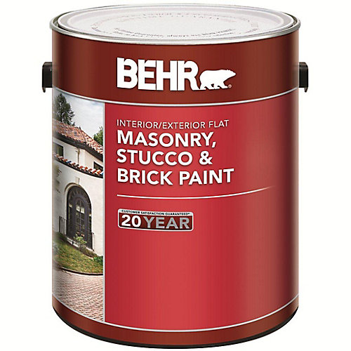 Interior/Exterior Masonry, Stucco & Brick Paint, Flat  - 3.73L