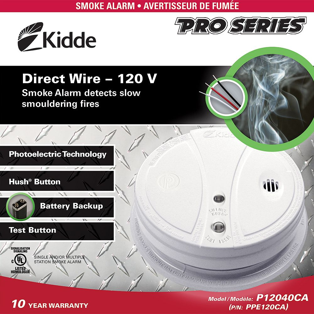 Kidde Hardwire Photoelectric Smoke Alarm with Battery Back-up