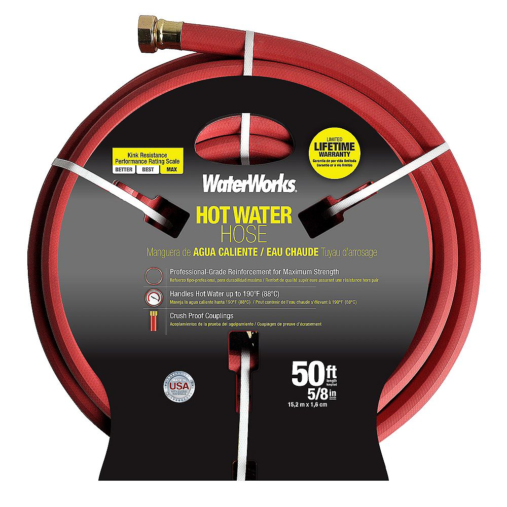 Waterworks 5/8-inch x 50 ft. Hot Water Rubber Hose
