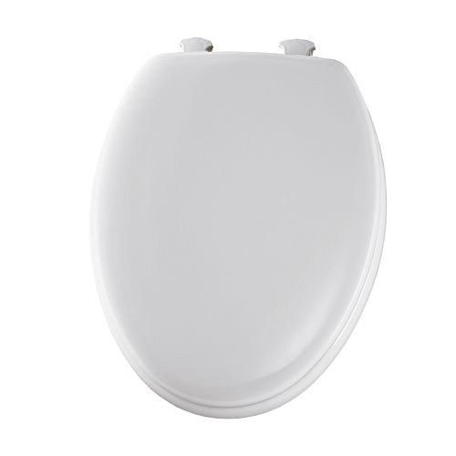 Elongated Closed Front Toilet Seat in White with Easy Clean and Change Hinge