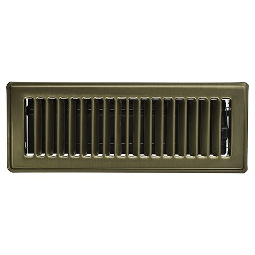 3 inch x 10 inch Floor Register - Vintage Brass