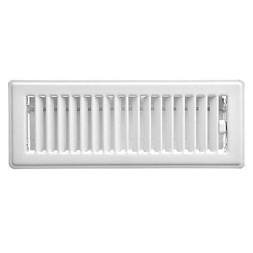 3 inch x 10 inch Floor Register - White
