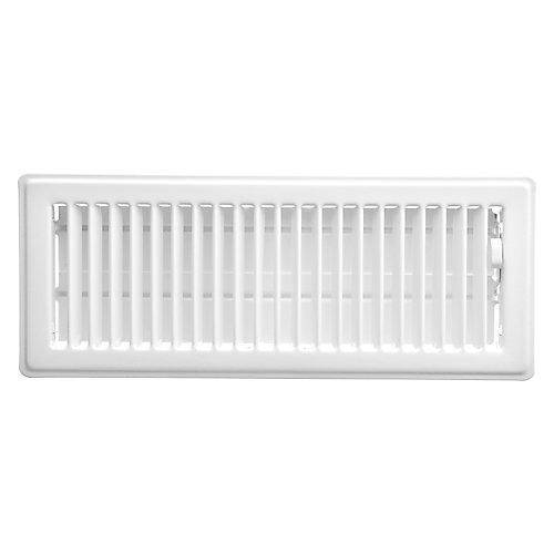 4 inch x 12 inch Floor Register - White