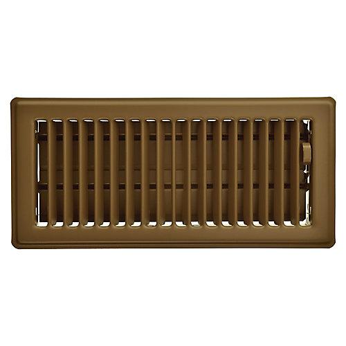 4 inch x 10 inch Floor Register - Brown
