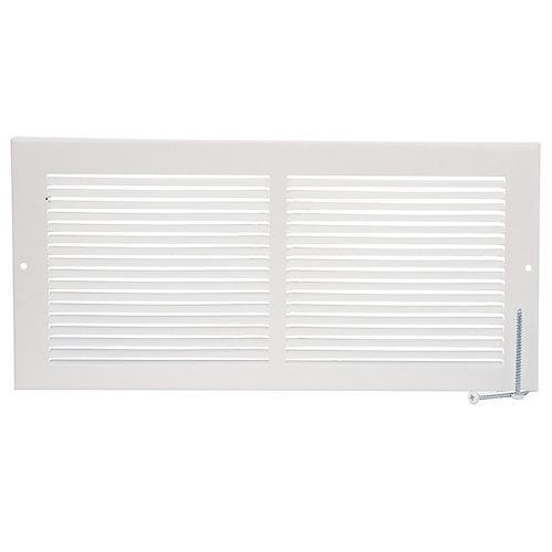 14 inch x 6 inch Baseboard Return Air Grille - White