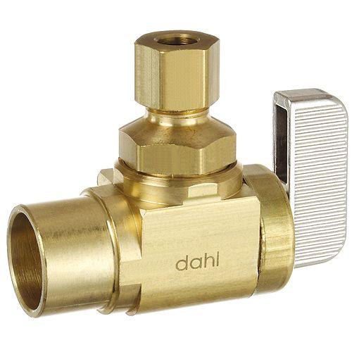 Dahl 1/2  Soudé femelle x 1/4 DE Comp, Angle, Laiton