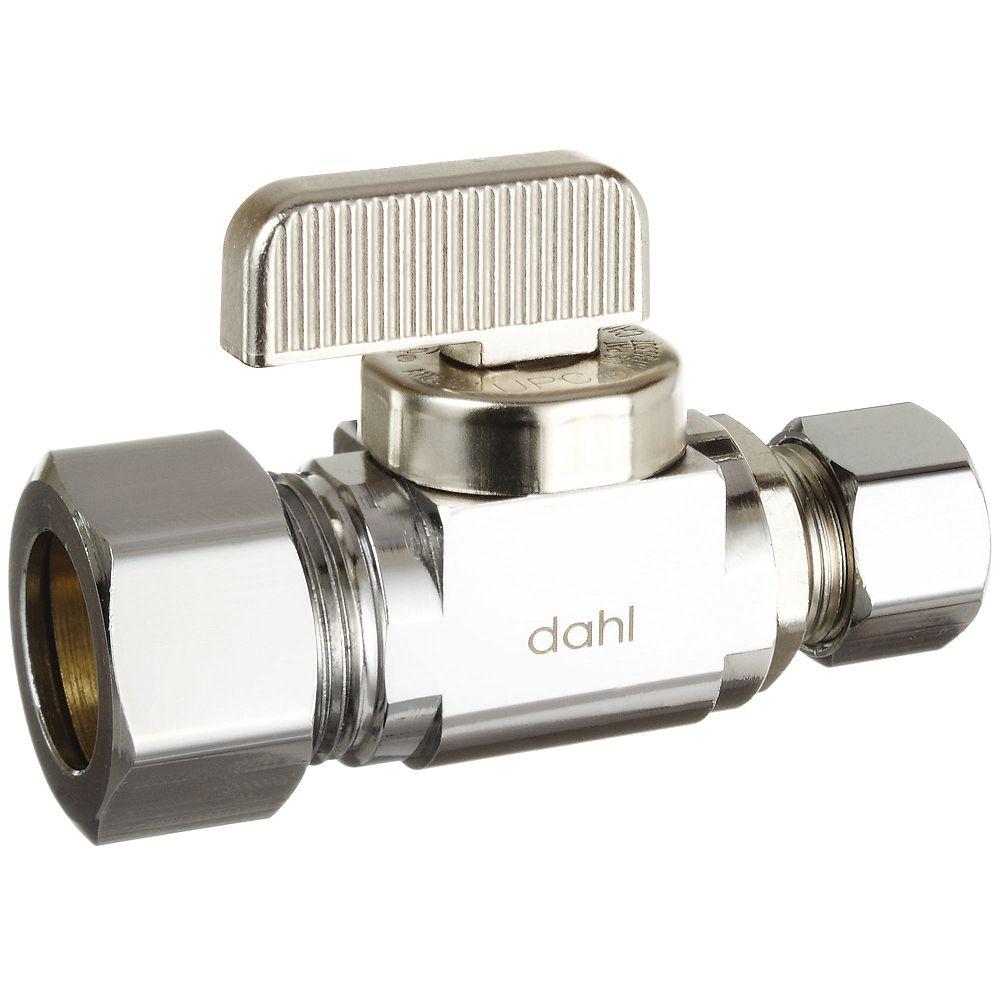 Dahl 5/8 Od Comp x 3/8 Od Comp, Straight, Plated