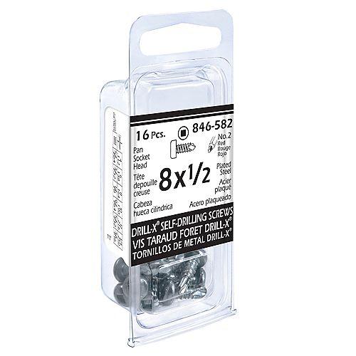Paulin #8 x 1/2-inch Drill-x Pan Head Square Drive Self-Drilling Tapping Screw - Zinc Plated - 16pcs