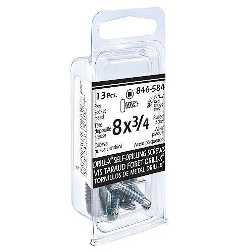 #8 x 3/4-inch DRILL-X Pan Head Square Drive Drive Self-Drilling Tapping Screws - Zinc Plated (13 Pcs)