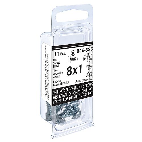 #8 x 1-inch Drill-x Pan Head Square Drive Self-Drilling Tapping Screw - Zinc Plated - 11pcs